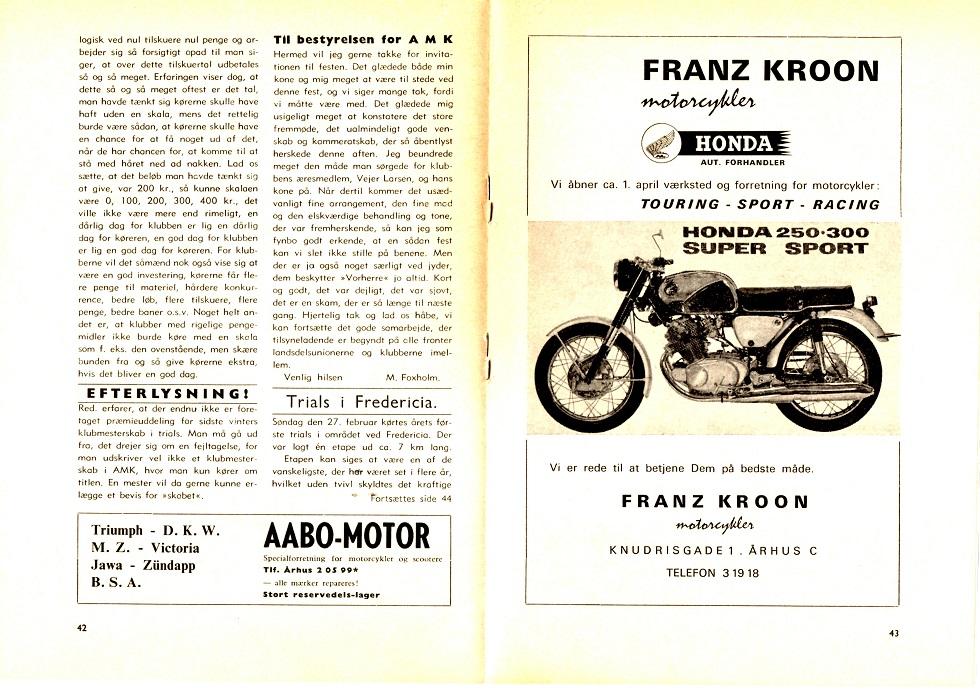 Annonce i klubblad april 1966 omkring forretningsåbningen.