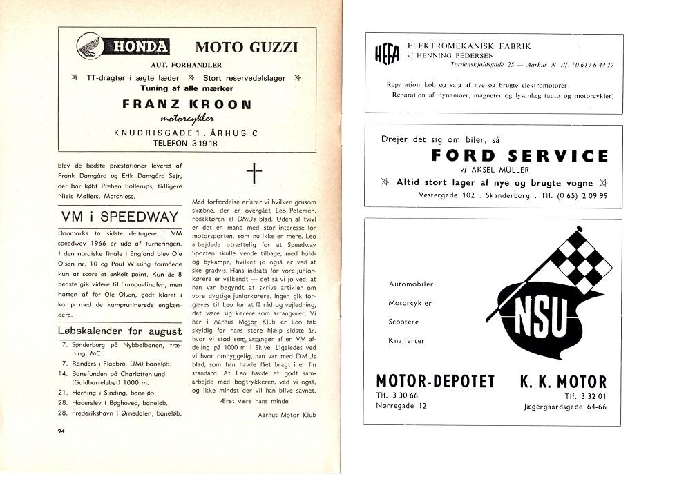 I august 66 reklameres med forhandling af Honda og Moto Guzzi.