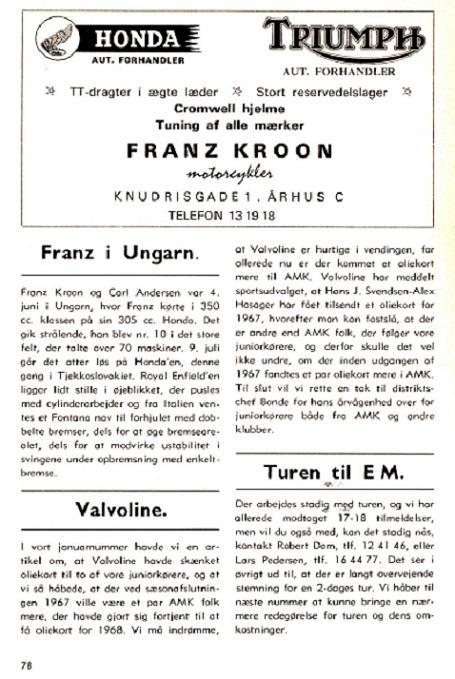 Klubbladet fra juli 67, der fortæller, at der arbejdes med R.E.