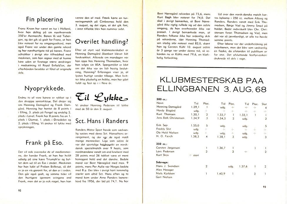 Klubblad fra aug. 68. Franz har klaret sig godt på Aermacchien i Holland.