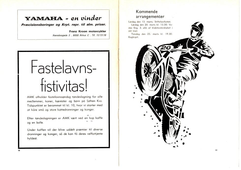 Klubblad febr. 1971. Nu er det Yamaha, der reklameres for.