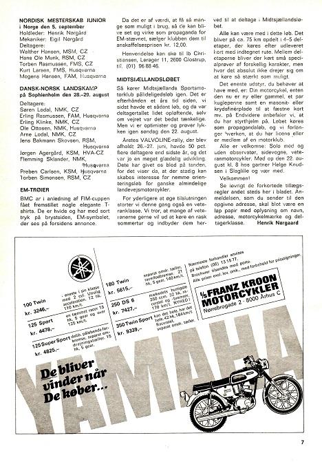DMU blad aug. 71. Importøren Franz kroon anviser nærmeste forhandlere.