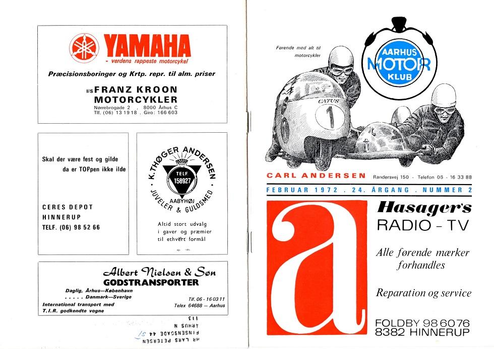 Klubblad febr. 1972. Annoncen nu i farve.