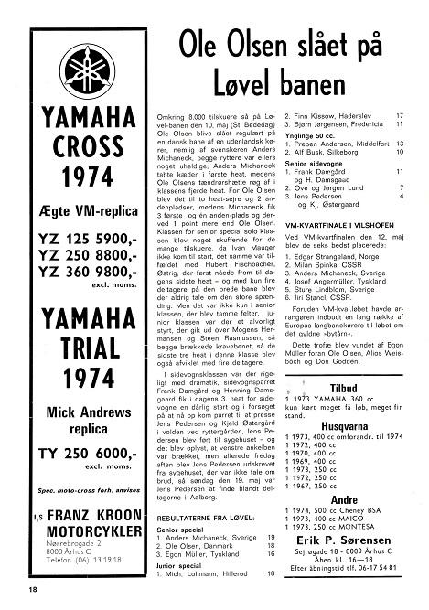 DMU blad juni 74. Der reklameres nu for de fremadstormende moto-crossere, men også trial er med.