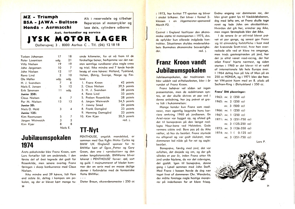 Klubblad marts 75. I anledning af, at Franz havde vundet Jubilæumspokalen i 1974, skrev jeg denne lille artikel om hans karrierestart på jordbanerne og andet.
