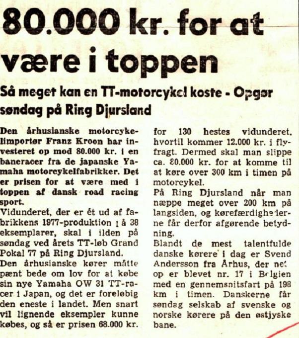 Presseomtale op til Grand Pokal løbet på Ring Djursland i 1977 om den nye OW31.