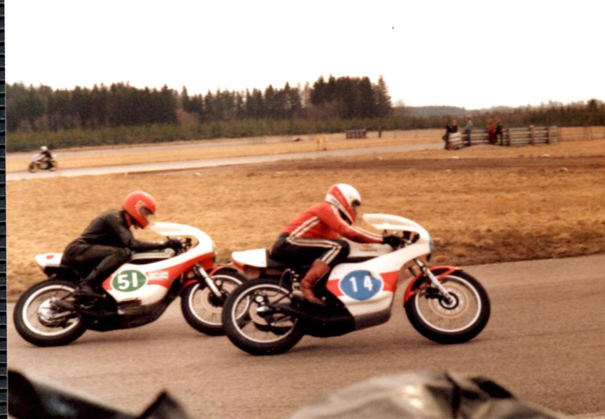 Karlskoga 1978 april. Franz med nr. 14 blev nr. 2 efter Svend Andersson. Med nr. 51 her er det John Hansen.