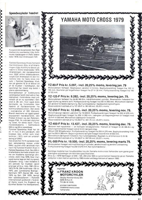 DMU blad dec. 1978. Man bemærker at importøradressen er skiftet til Skejby Nordlandsvej