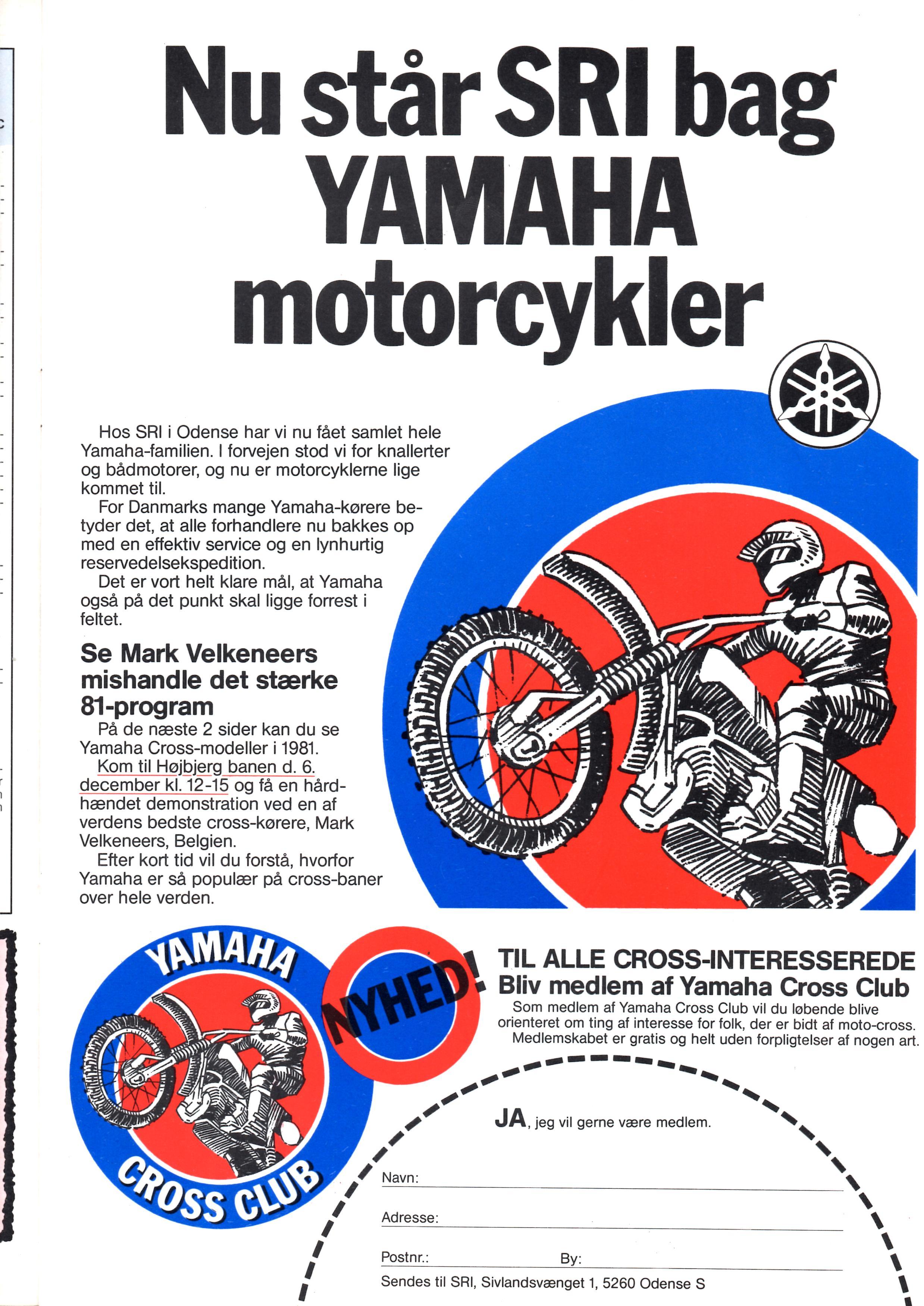 Den nye importør SRI havde denne annonce med i Motorbladets december nummer 1980.