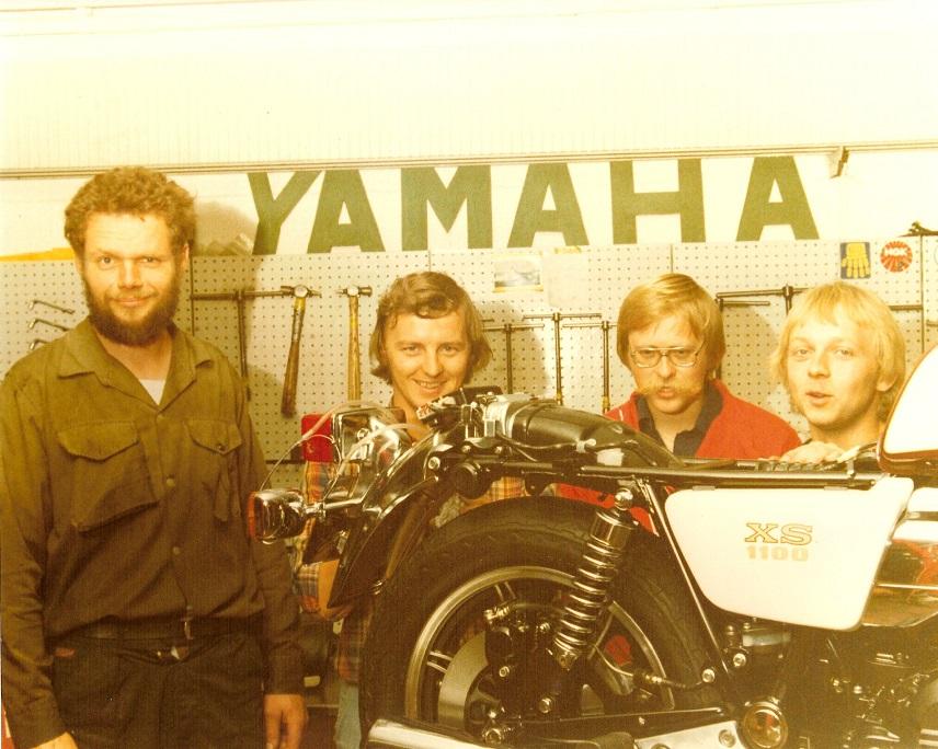Medarbejderne 1979. Fra venstre AsgerHansen, Kai Nielsen, Alex Rasmussen og Paul Kierstein.