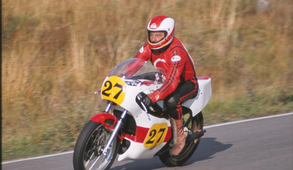 I sit sidste løb på Ring Djursland sept. 1979 kørte Franz med i både 1000cc og 350cc. Her 1000cc.