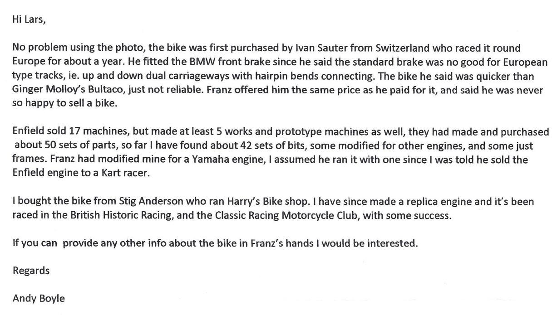 Andy Boyles historie om RE GP5 og lidt om historien bag hans køb af Franz´stel.