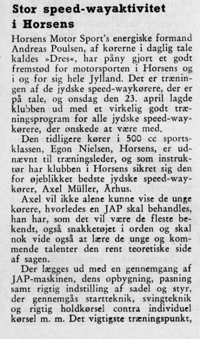 I 1958 virkede Aksel som instruktør på den dengang forholdsvis nyåbnede Frederikslyst bane.
