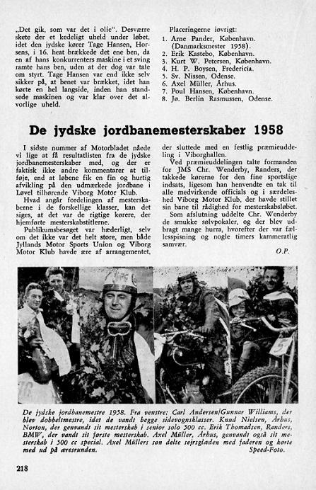 Aksel genvandt JM på Løvel i 1958. Her er han med på billedet i DMU-bladets omtale af løbet.