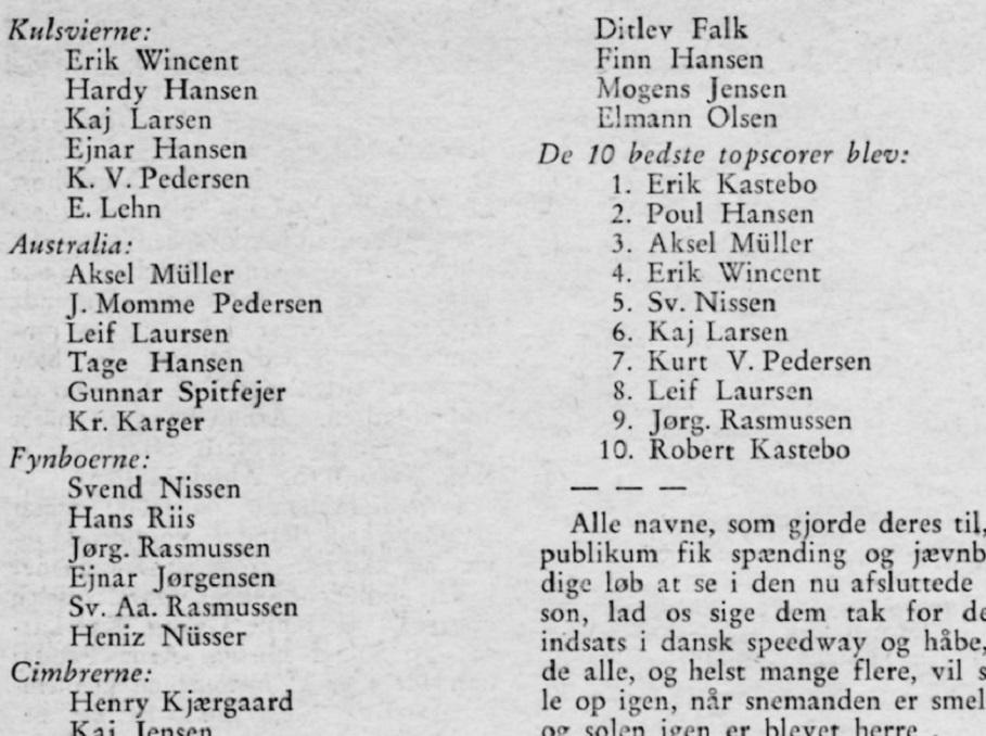 Motorbogen bragte en artikel om holdturneringen, hvor man ser Aksel som nr. 3 på årets topscorerliste.
