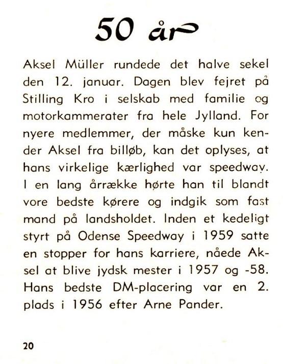 En notits fra klubbladet febr. 1969 i anledning af Aksels 50 års fødselsdag.
