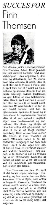Motorbladet fortæller i maj 74 om Finns første tid i England.