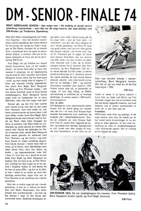 Motorbladet okt. 74 bringer en artikel om DM-finalen i Speedway, hvor Finn bliver nr. 2 img1.