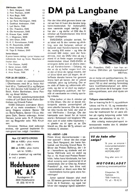 Motorbladet okt. 74 bringer en artikel om DM-finalen i Speedway, hvor Finn bliver nr. 2 img2.