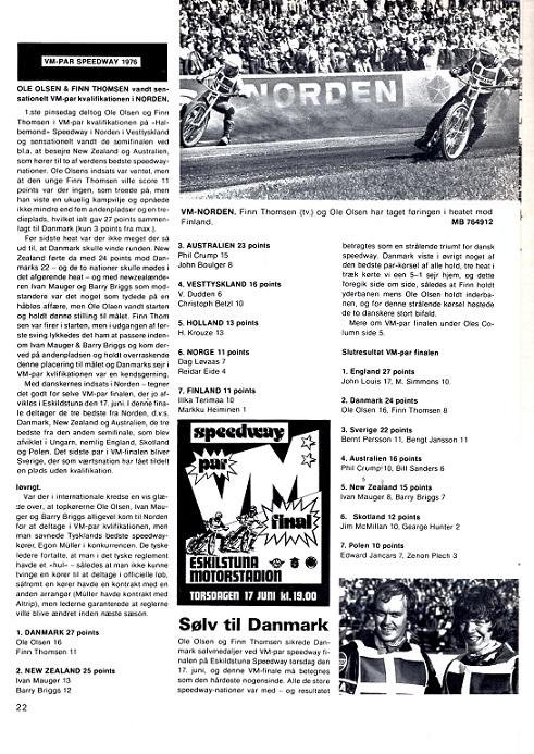Finn og Ole sikrer Danmark VM-sølv i Par-speedway 1976. Motorbladet juli 76.