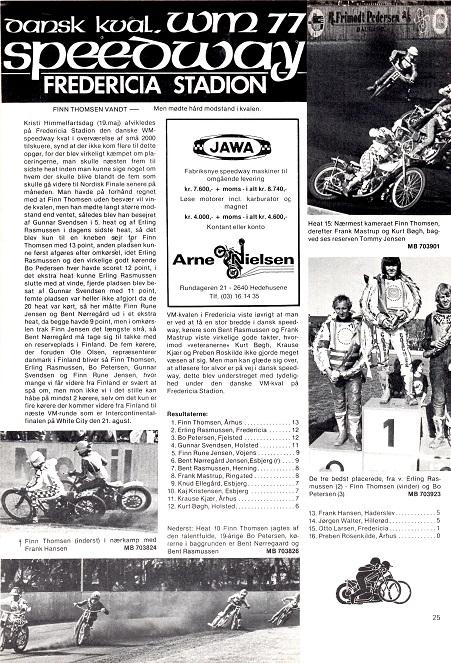 Finns vej til VM-finalen begyndte med den danske kval., som han vandt. Motorbladet juni 77.