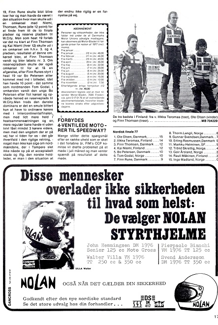 Næste station mod VM var Nordisk kval. runde i Finland, hvor Finn blev nr. 3. Motorbladet juli 77 img2.