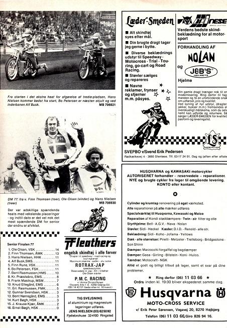 DM Speedway-finalen 1977 gav Finn en ny 2. plads. Motorbladet sept. 77 img2.