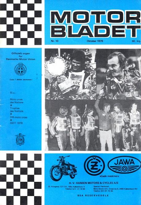 Motorbladet havde selvfølgende det sejrende hold på forsiden. Okt. 78.