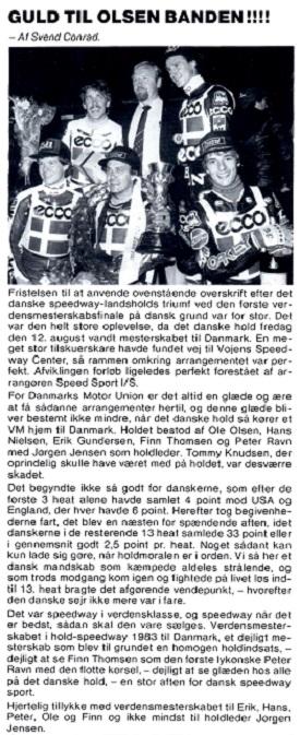 Atter guld Til Danmark i VM-Team, og denne gang på hjemmebane i Vojens. MB sept. 83 img1.