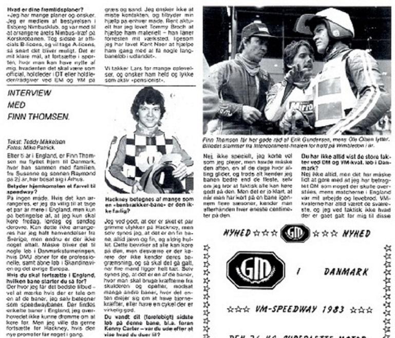 Motorbladet bragte i dec. 83 dette interview med Finn i anledning af hans karrierestop. Img1.