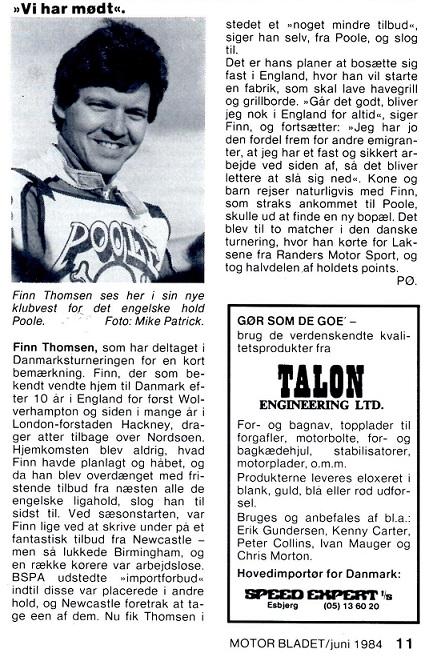Interview med Finn i Poole-vest. MB juni 84.