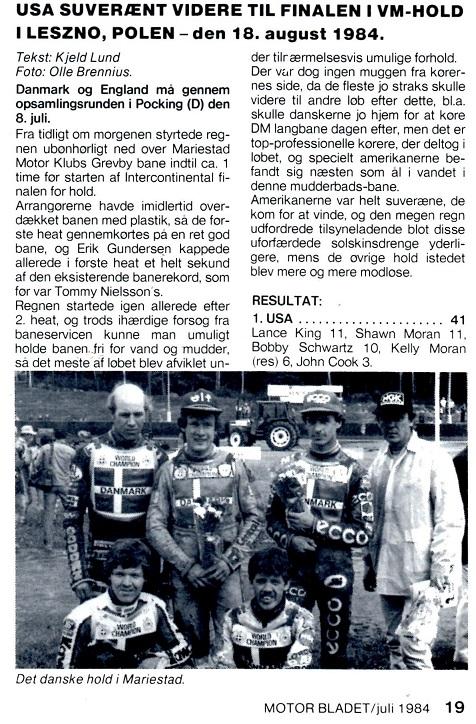 Det danske hold til VM-Team kval. i Mariestad. Bo Pedersen, Preben Eriksen, Hans Nielsen, Finn og Erik Gundersen.
