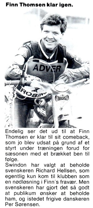I 1986 kørte Finn for Swindon Robins. MB juni 86.