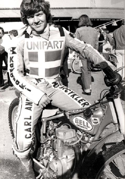 VM-Team finalen White City 1979. Finn klar til at køre for Danmark. Det blev sølv efter New Zealand.