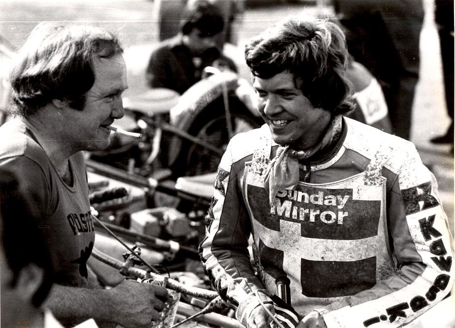 Intercontinentalfinalen på White City i London 1979. Frank Damgaard tv var med i mekanikerstaben, da Finn sikrede sig 3. pladsen og dermed en plads i VM-finalen.