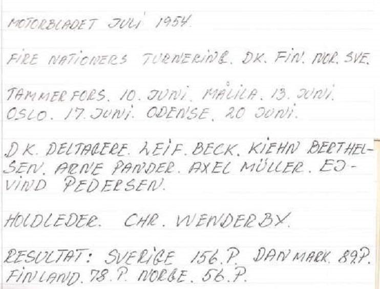 John Williams har sammenfattet landsholdsturen således ud fra Motorbladet juli 1954.