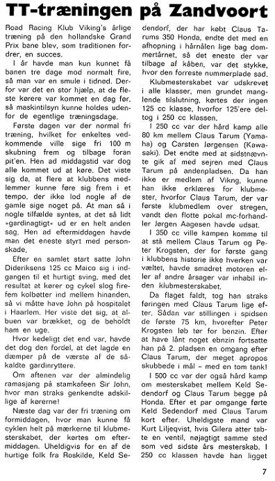 Carsten demonstrerede sine evner som RR-kører i 1971. Her er Motorbladets omtale af Zandvoort -løbet. Img1.