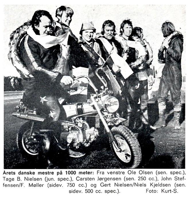Motorbladet bragte dette billede af danmarksmestrene 1973, hvor Carsten er med.