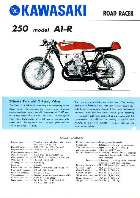 Kawasakis road-racer, hvor motoren blev taget ud og lagt i et jordbanestel.