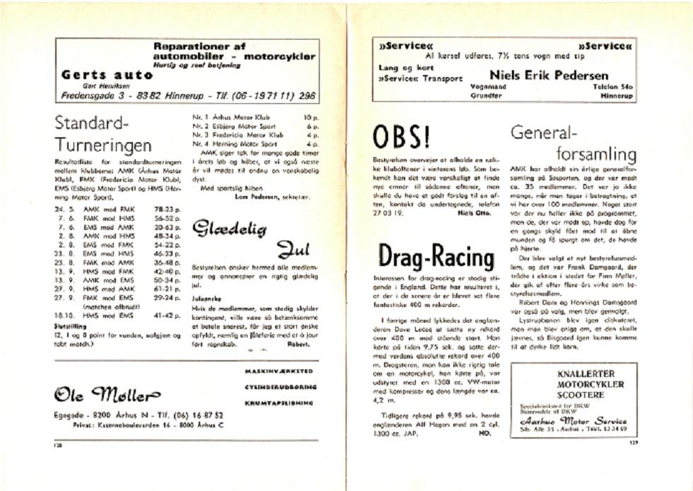 Klubbladsannonce fra dec. 1969.