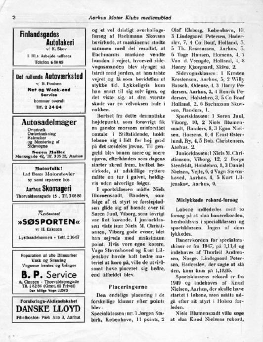 Søren Møllers annonce ses her i et klubblad fra juni 1954.