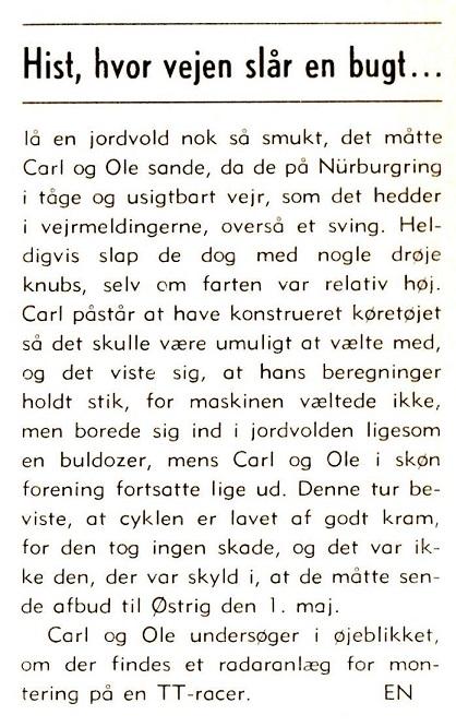 """""""Oste Tage"""" skrev denne lille beretning i klubbladet om hvordan det endte på Nürburgring."""