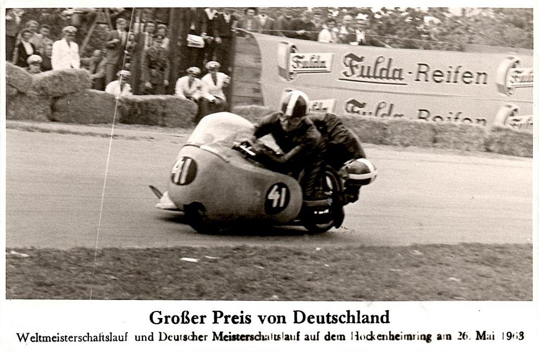 Carl og Ole i fin stil på Hockenheim maj 63.