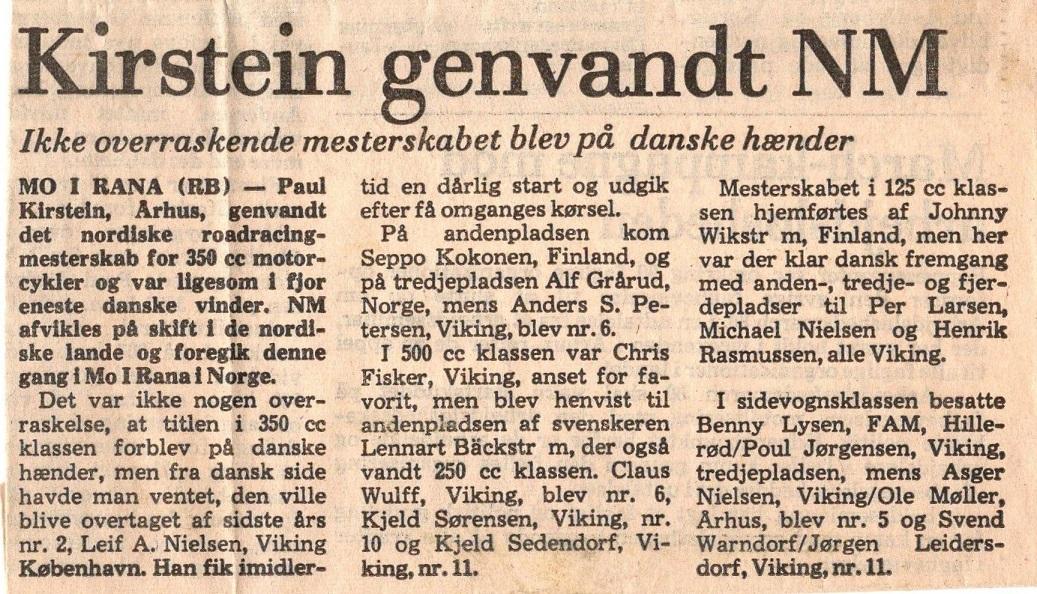 1980. Avisartikel om Pauls genvundne NM i Mo i Rana