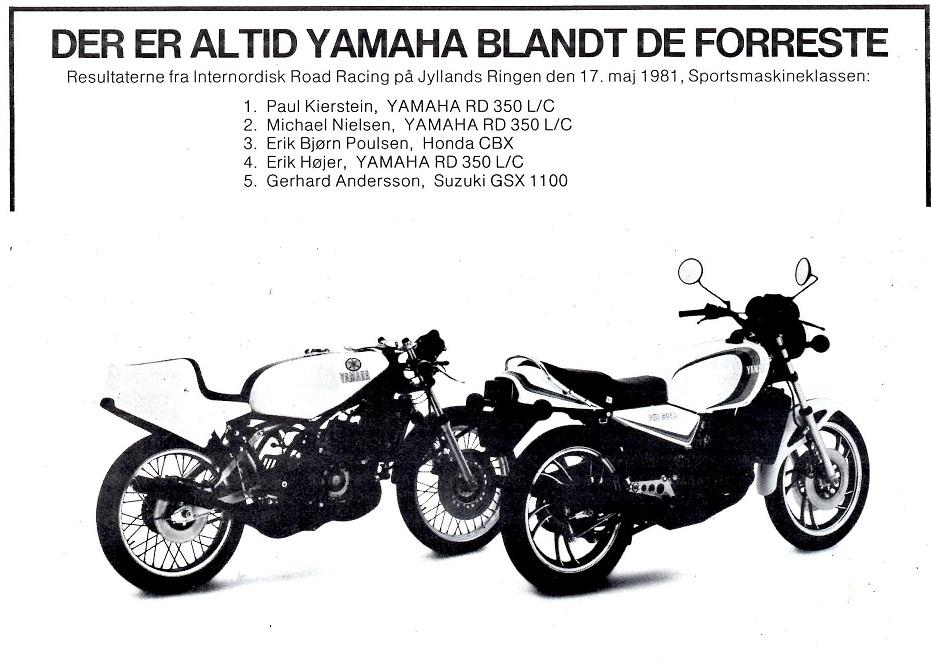 Denne annonce var indrykket i Motorbladets juni nummer 1981 efter Pauls på Jyllands-Ringen.