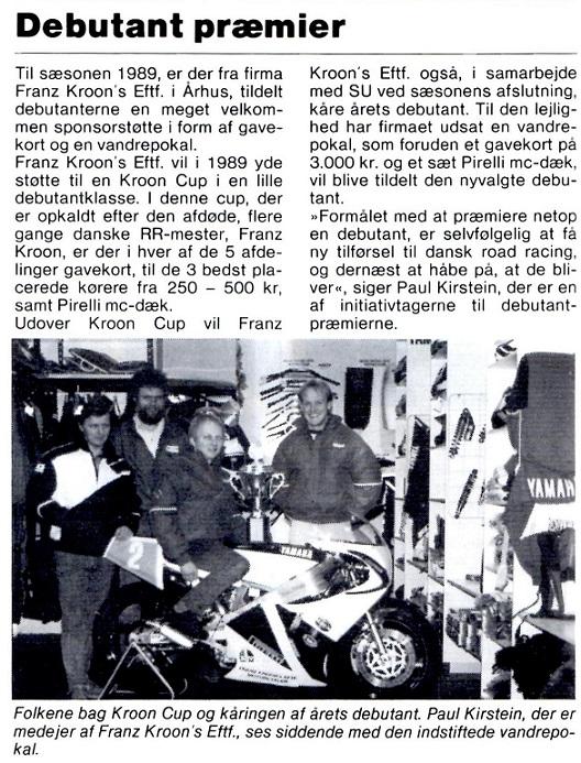 I Motorbladet 01/02 1989 omtales Kroon Cup.