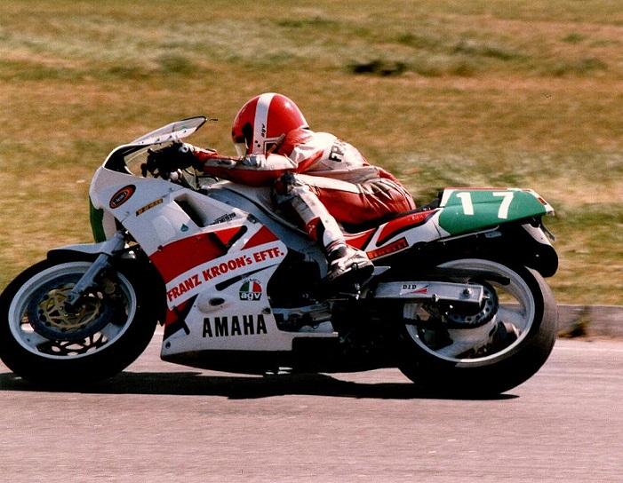 """Det såkaldte """"Støjmålerløb"""" på Ring Djursland april 89, hvor Paul vandt på sin TZ250cc."""