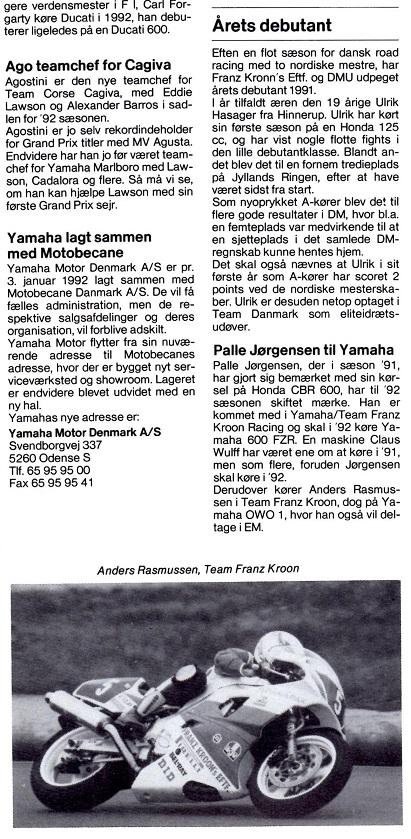 Ulrik Hasager, AMK vinder Kroon Cup i 1991. Artikel MB 01/02 1992, der også meddeler at firmaet støtter Palle Jørgensen i den kommende sæson.