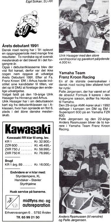 Billede af Ulrik Hasager i MB 1992 marts nummer, hvor der også annonceres med støtte til Anders Rasmussen og Palle Jørgensen.