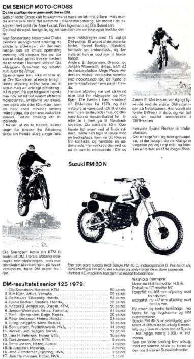 Motorbladets artikel om den dramatiske afslutning på DM 125cc 1979 incl. slutresultatet.